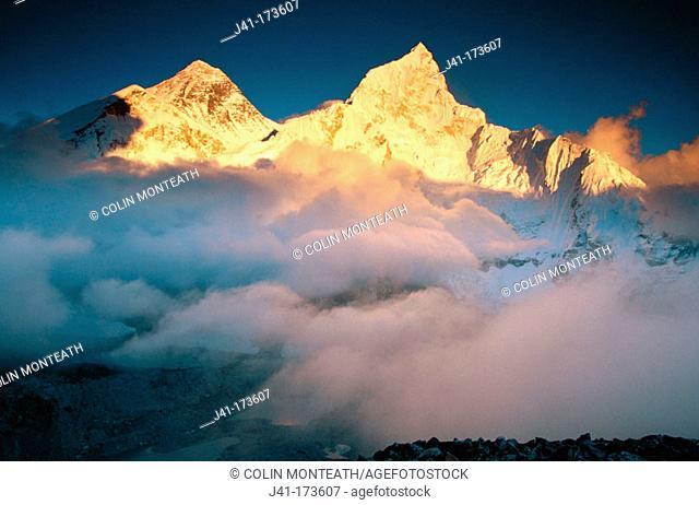 Everest and Nuptse mountains. Himalayas. Nepal