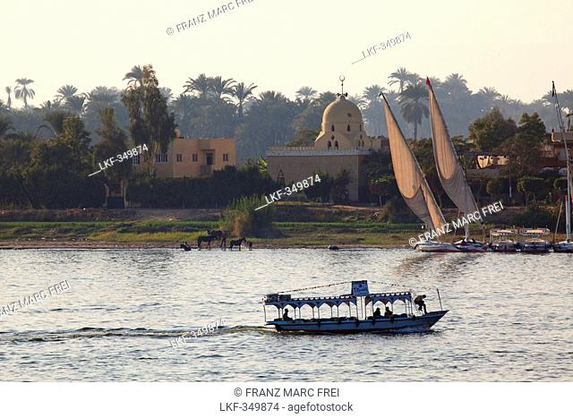 Feluccas and sunset over the river Nile, Luxor, formerly Thebes, Egypt, Africa