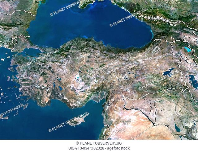 Satellite view of Turkey with border. This image was compiled from data acquired by LANDSAT 5 & 7 satellites