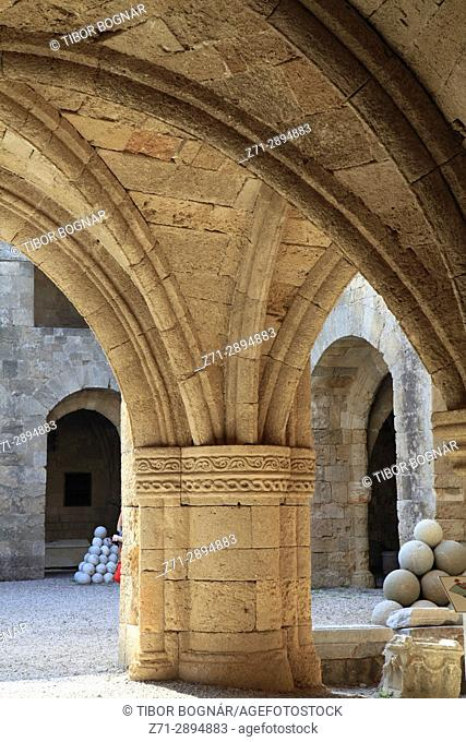 Greece, Dodecanese, Rhodes, Archeological Museum, courtyard,