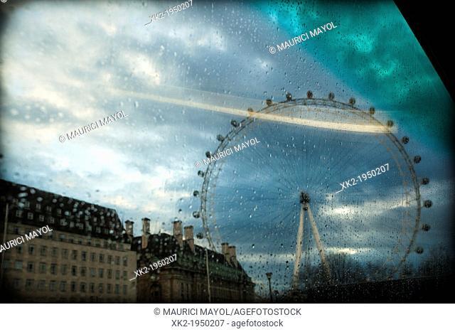View of London Eye from a Bus window, London, UK