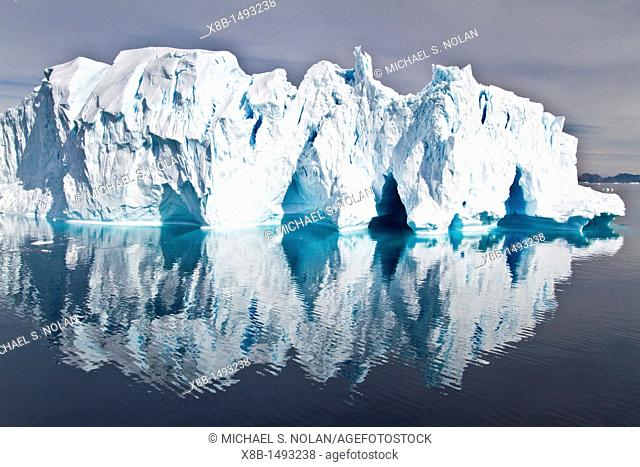 Iceberg in the Weddell Sea on the eastern side of the Antarctic Peninsula during the summer months, Southern Ocean  MORE INFO An increasing number of icebergs...