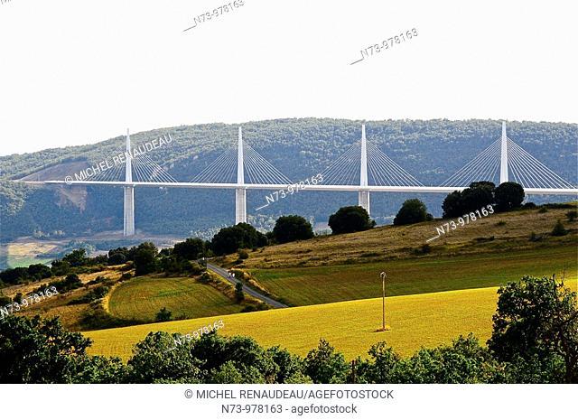 France, Aveyron 12, Millau, le viaduc de l'Autoroute A75 au dessus du Tarn, entre les causses de Sauveterre et du Larzac