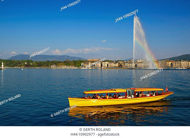 Geneva, Switzerland, Europe, canton Geneva, town, city, houses, homes, harbour, port, fountain, jet d'eau, Genevan, lake, Leman, rainbow, boat