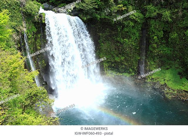 View of Otodome Falls with rainbow