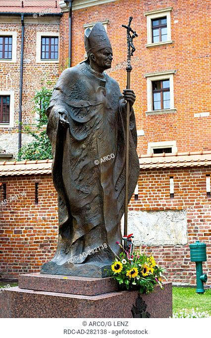 John Paul 2 memorial, in front of Cathedral museum, Wawel, Krakow, Lesser Poland