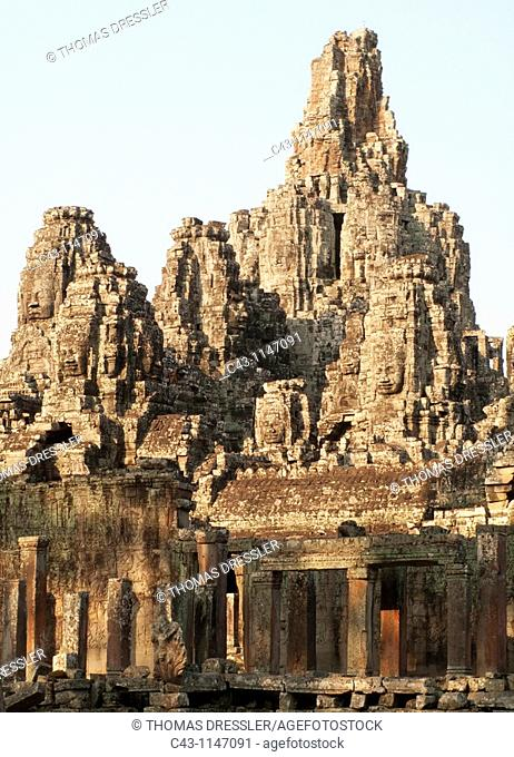 Cambodia - The Bayon is a temple in the centre of Angkor Thom, the 'Great Capital' of the Khmer empire in Angkor  Noticable the numerous Prasats pyramid towers...