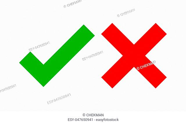 Yes and No check marks. Vector illustration. Red and green check marks on white background