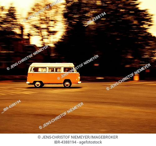 Age VW bus, VW T2, Volkswagen, driving, evening, Edinburgh, Scotland, United Kingdom