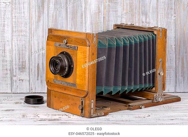 Wooden classic retro photo camera, close up