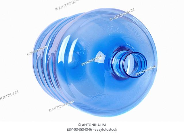 empty blue transparent waters gallon on white background
