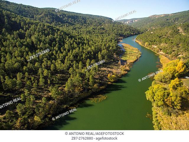 Aerial photography using a drone: Hoz de Beteta Natural Monument, Ruta del Mimbre, Serranía de Cuenca, Cuenca province, Castilla-La Mancha, Spain