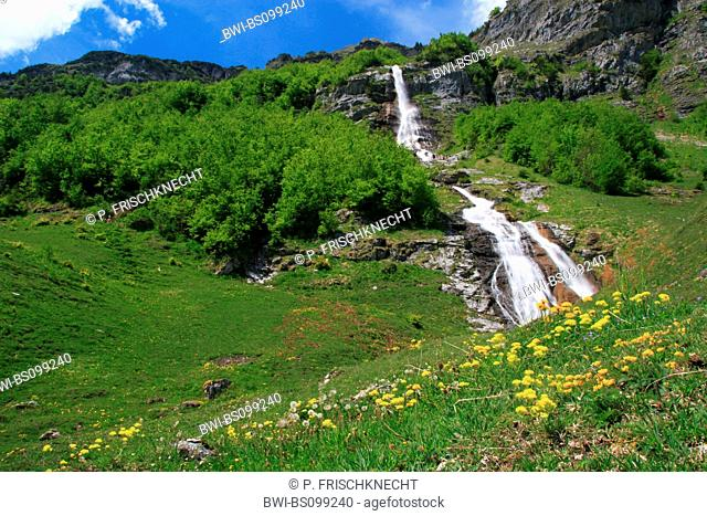 waterfall at Gental in spring, Switzerland, Bernese Oberland, Engstlenalp