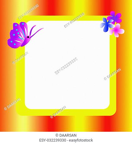 Orange, red, yellow frame with flowers and butterflies