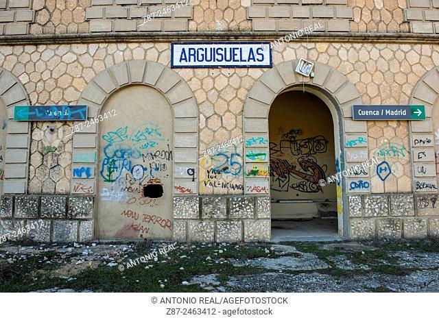 Railway station, Arguisuelas, Serranía de Cuenca, Cuenca province, Castilla-La Mancha, Spain