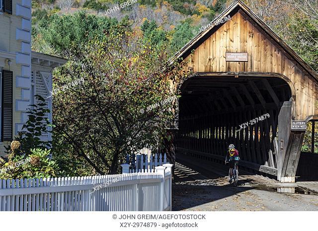 Charming covered bridge, Woodstock, Vermont, USA
