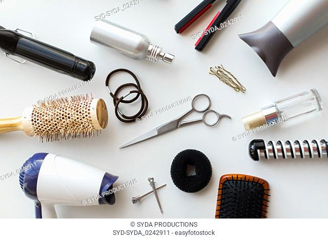 scissors, hairdryers, irons and brushes