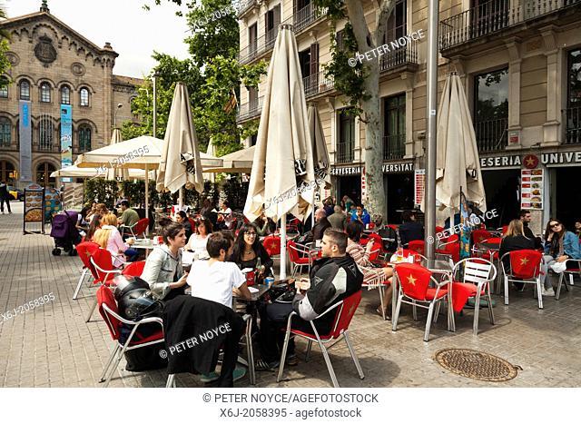 Street cafe in the University Square, Barcelona