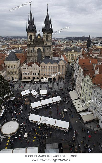 Church of Our Lady before Tyn, view from Old Town Hall, Old Town Square, Prague, Czech Republic