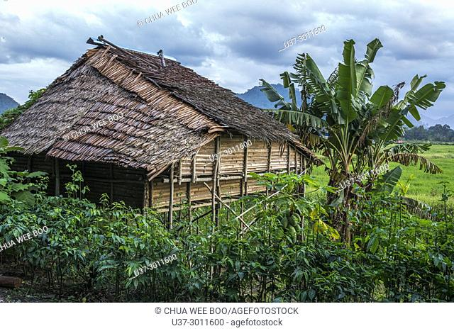 Ruined wooden building, Bau, Sarawak, Malaysia