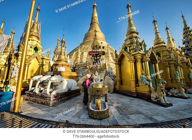 Golden Shwedagon Paya, the holiest pilgrimage site in Yangon, Myanmar