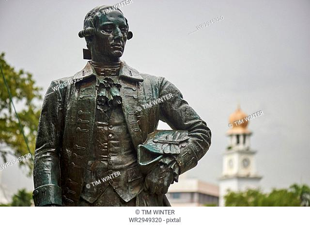 Statue of Captain Francis Light, Fort Cornwallis, Penang, Malaysia, Southeast Asia, Asia