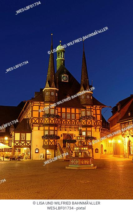 Germany, Wernigerode, townhall and market square in the evening