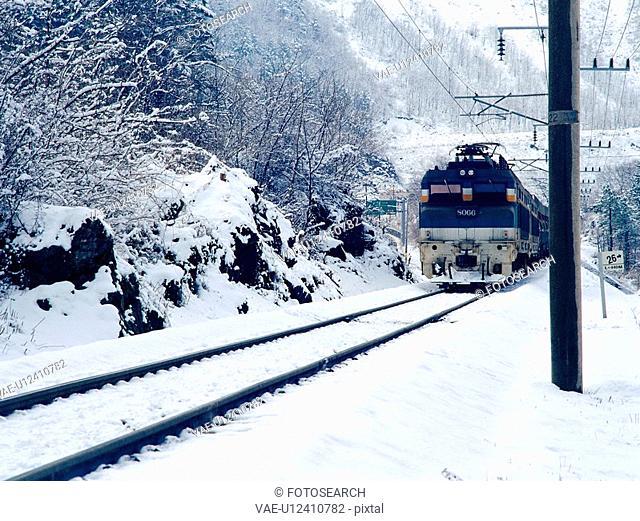 cold, scenery, train, railroad, snow, film
