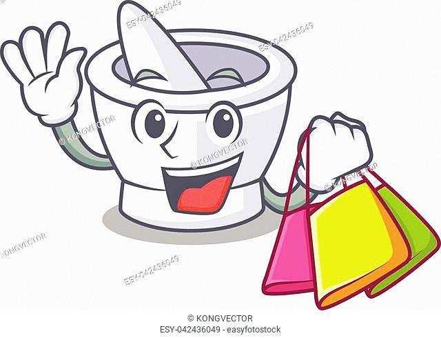 Shopping mortar character cartoon style vector illustration