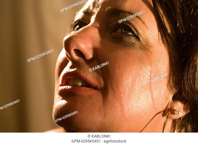 Close-up of woman crying and smeared mascara