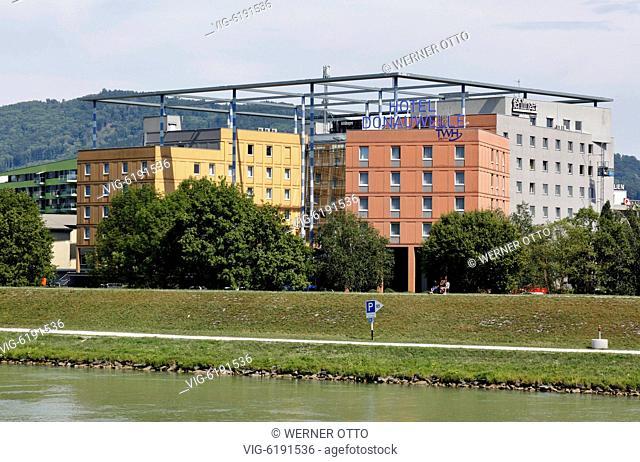 Austria, Upper Austria, Linz on the Danube, provincial capital of Upper Austria, European Capital 2009, Trans World Hotel Donauwelle at the Danube bank