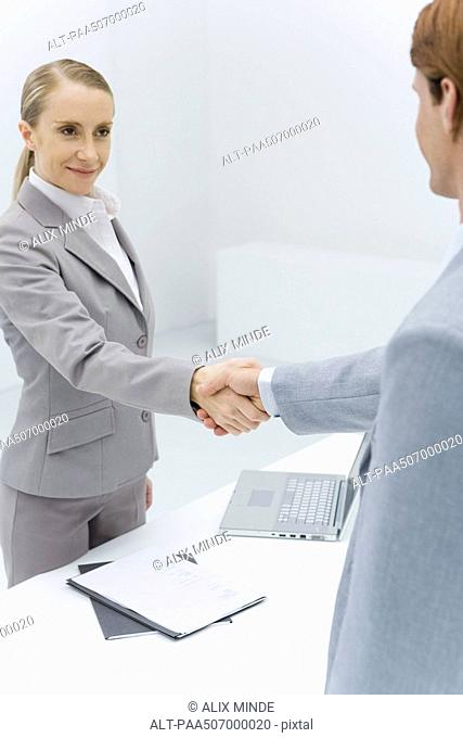 Businesswoman shaking hands with cropped view of red-headed businessman