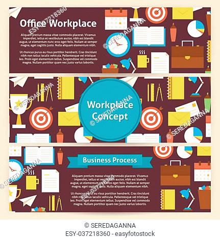 Office Workplace Concept Template Banners Set in Modern Flat Style. Design Vector Illustration of Brand Identity for Business Office Lifestyle