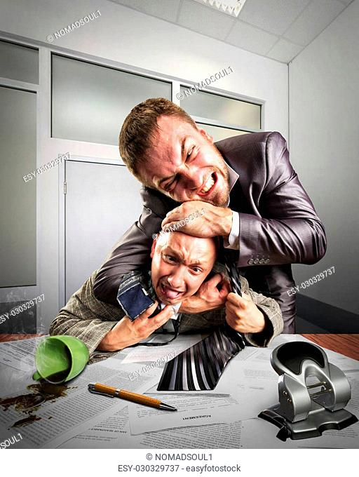 Two angry businessmen fighting for agreement signing