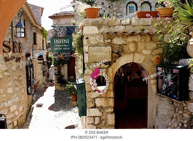 France ,Cote D'Azur, Eze Narrow quaint streets in the village. Zoe Baker