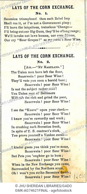 Broadside from the American Civil War, entitled 'Lays of the Corn Exchange', insulting Union supporters and soldiers, 1861