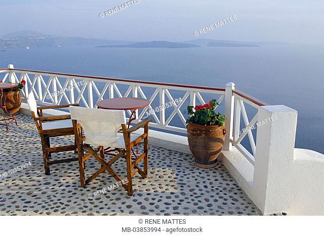 Greece, Kykladen, island Santorin, Oia, balcony, seat-group, Europe, Mediterranean-island, sea, Mediterranean, Aegean, destination, outlook, terrace, table