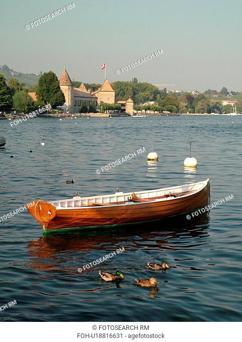 Switzerland, Europe, Vaud, La Cote, Rolle, Lake Geneva, Lac Leman, Chateau de Rolle, wooden rowboat