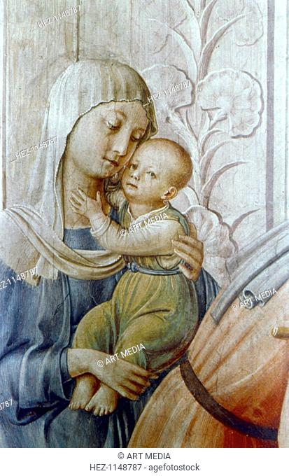 'St Laurence giving alms to the Poor' (detail), mid 15th century. A young mother holding her baby. St Laurence (d258), saint and martyr