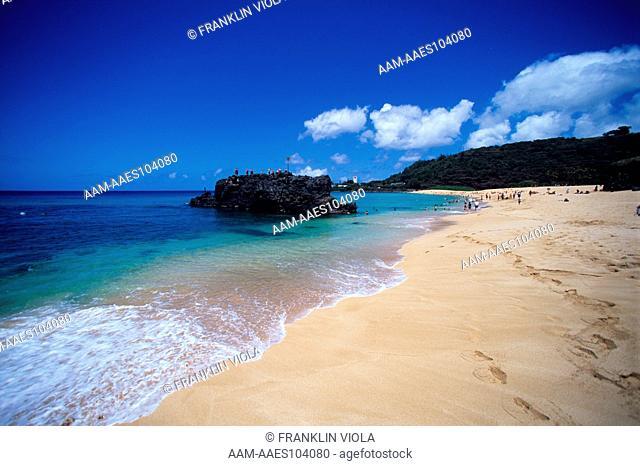 Waimea Bay, famous North Shore Surfing Beach, Oahu, HI