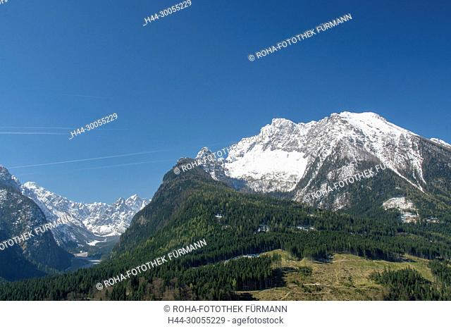 Berchtesgaden, Berchtesgadener Land, Ramsau, Hochkalter, Winter, Schnee, verschneit, Vorfrühling, Vorfruehing, Frühling, Fruehling, Gipfel, Wimbachgries