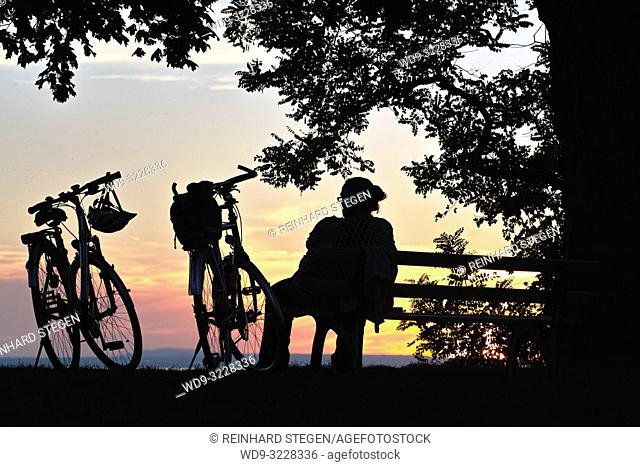 Bikes at sunset, Lake Constace, Bavaria, Germany