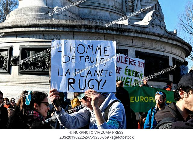 February 22, 2019 - Paris, France - Youth and students demonstrate with the presence of Greta Thunberg at Paris to ask real acts against global warming -...