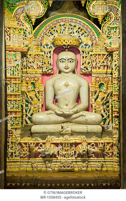 White marble statue of Mahavira, Jain Temple, Jaisalmer, Thar Desert, Rajasthan, India, South Asia