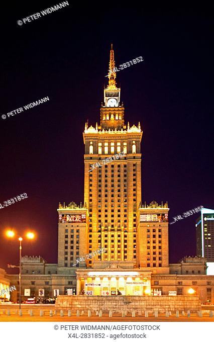 The Palace of culture in Warsaw at night, Poland, Europe, 2. July 2004