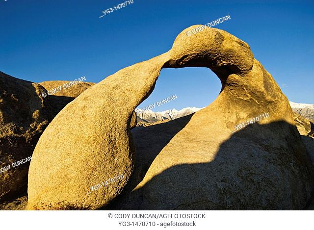 Mobius Arch in the Alabama Hills provides view of Sierra Nevada Mountains  Near Lone Pine, California