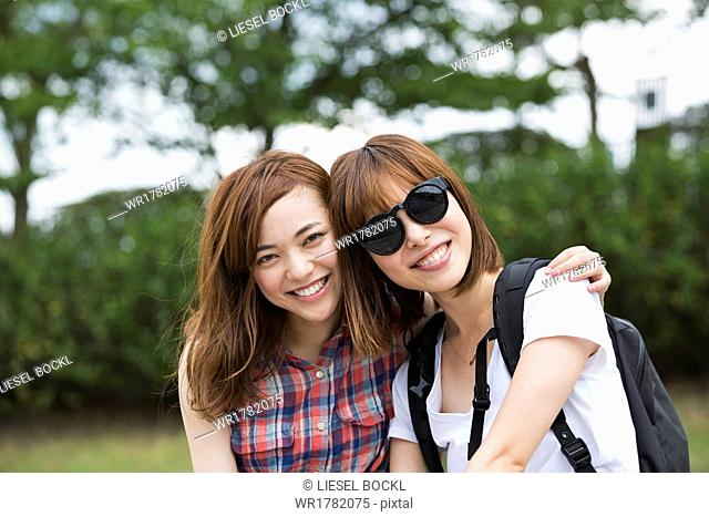 Two young women in the park