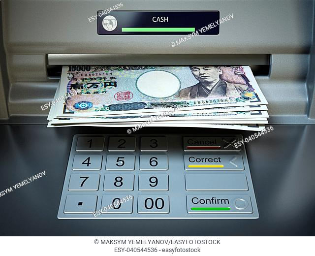 ATM machine and money. Withdrawing yen banknotes. 3d illustration