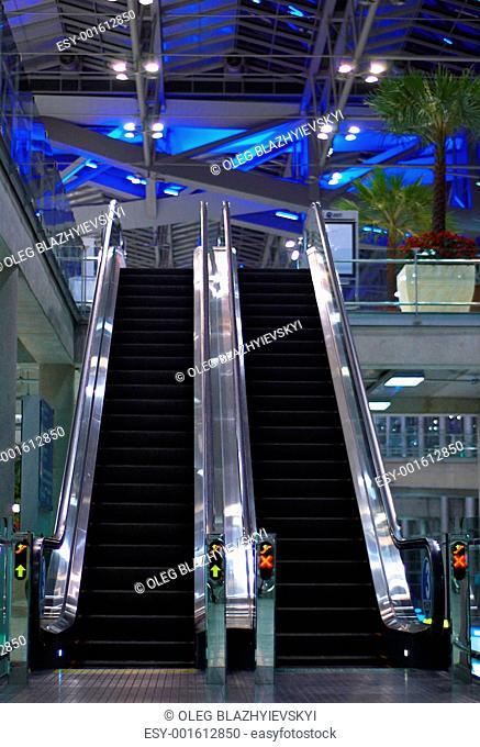 Escalator. Abstract metal construction