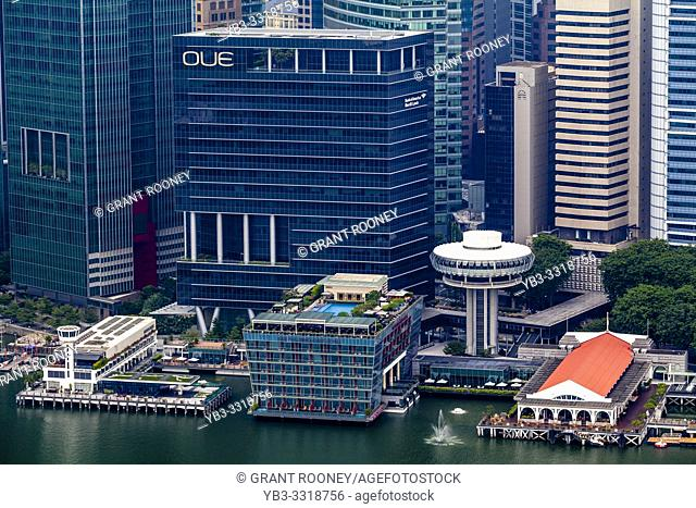 The Fullerton Bay Hotel and Singapore Skyline, Singapore, South East Asia